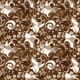 Modelo floral marrón-blanco inconsútil libre illustration