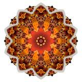 Modelo floral redondo Mandala hermosa con el tulip?n rojo estilizado en vector Plantilla para el plato, manta en estilo ?tnico libre illustration