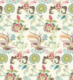 Modelo floral y del pájaro oriental 1 ilustración del vector