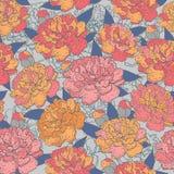 Modelo floreciente inconsútil hermoso de la peonía en el fondo azul, ejemplo Imagen de archivo libre de regalías
