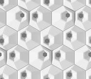 Modelo geométrico abstracto sombreado blanco Estilo de papel de la papiroflexia fondo de la representación 3D Imagen de archivo libre de regalías