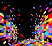 Modelo geométrico colorido en fondo negro Imagenes de archivo
