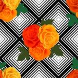 Modelo geométrico con el fondo de las rosas libre illustration