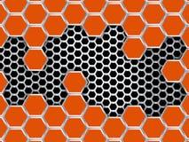 Modelo geométrico de hexágonos Fondo anaranjado abstracto del metal Foto de archivo libre de regalías