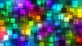 Modelo geométrico de los cuadrados brillantes en fondo colorido stock de ilustración