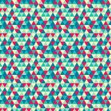 Modelo geométrico inconsútil con la menta, amarillo, rojo Triángulos azules y verdes Fotografía de archivo