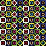 Modelo geométrico inconsútil de cuadrados, de círculos y de diamantes brillantes en un fondo negro Vector Stock de ilustración