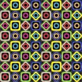 Modelo geométrico inconsútil Diamantes, círculos, cuadrados con las esquinas redondeadas en un fondo negro Vector Stock de ilustración