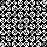 Modelo geométrico inconsútil Diamantes y círculos blancos en un fondo negro Vector Fotografía de archivo libre de regalías