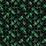 Modelo geométrico inconsútil Las formas del verde en un fondo negro libre illustration