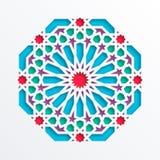 Modelo geométrico islámico Mosaico musulmán del vector 3D, adorno persa Ornamento oriental elegante, arte árabe tradicional ilustración del vector
