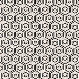 Modelo geométrico negro abstracto de las tejas con los elementos hexagonales stock de ilustración