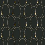 Modelo geométrico retro abstracto inconsútil Óvalos y resbaladores de la cremallera en amarillo, gris y negro stock de ilustración