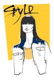 Modelo Girl Head Hairstyle do estilo da coleção da forma ilustração do vetor