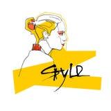 Modelo Girl Head Hairstyle do estilo da coleção da forma ilustração royalty free