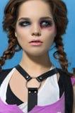 Modelo Girl Portrait do estilo de Runk da forma hairstyle Composição punk da mulher Fotografia de Stock Royalty Free