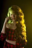Modelo glamoroso com sombra em seus cara e cabelo longo Foto de Stock Royalty Free