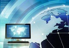 Modelo global de la red de ordenadores Imágenes de archivo libres de regalías