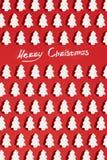 Modelo hecho de la decoración de la Navidad blanca con el árbol de navidad en fondo rojo Papel pintado de la Navidad Imágenes de archivo libres de regalías