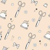 Modelo hecho de tijeras, de agujas, de pernos, de hilos, de mouline y del acerico libre illustration