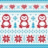 Modelo hecho punto la Navidad - suéter scandynavian Imagen de archivo libre de regalías