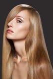 Modelo hermoso con el pelo largo. Maquillaje y salud Imagen de archivo