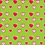 Modelo hermoso: corazones blanco-rojos en un fondo verde claro Para las materias textiles, telas Impresión elegante romántica, te libre illustration
