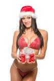 Modelo hermoso de la aptitud en un bikini rojo Fotografía de archivo libre de regalías