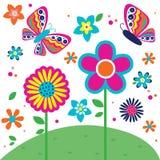 Modelo hermoso de la mariposa y de flores Fotografía de archivo libre de regalías