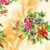 Modelo hermoso de la trama con las flores digitales de la acuarela agradable libre illustration