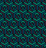 Modelo hexagonal del cubo isométrico inconsútil del triángulo del vector en azul y Teal Colors púrpuras Imagen de archivo libre de regalías
