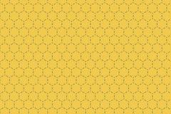 Modelo hexagonal geométrico de la forma con las líneas discontinuas en vagos amarillos Fotos de archivo libres de regalías
