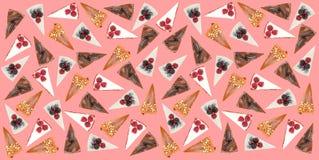 Modelo horizontal de diversas empanadas aisladas sobre rosa Imagenes de archivo