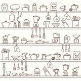 Modelo horizontal inconsútil con los estantes de la cocina llenos de diversos artículos y herramientas de la cocina stock de ilustración
