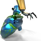 Modelo humano do coração 3d com uma rendição da mão 3d do robô Foto de Stock Royalty Free