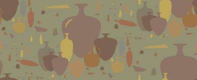 Modelo inconsútil ánforas y buques de cerámica Imagenes de archivo