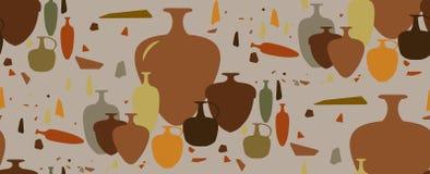 Modelo inconsútil ánforas y buques de cerámica Imagen de archivo