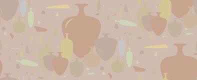 Modelo inconsútil ánforas y buques de cerámica Imágenes de archivo libres de regalías
