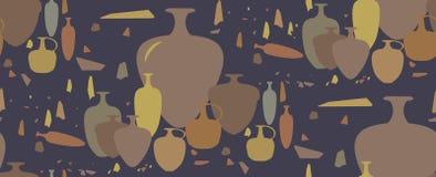 Modelo inconsútil ánforas y buques de cerámica Foto de archivo