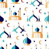 Modelo inconsútil árabe con la luna y la mezquita ilustración del vector