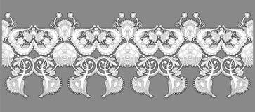 Modelo inconsútil étnico blanco y negro de la raya en backgroun gris Foto de archivo libre de regalías