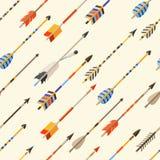 Modelo inconsútil étnico con las flechas indias adentro stock de ilustración
