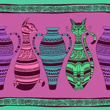 Modelo inconsútil étnico con los gatos y el florero ornated Imagenes de archivo