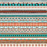 Modelo inconsútil étnico del vector Ornamento rayado tribal dibujado mano Imagen de archivo