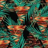 Modelo inconsútil étnico tribal con los elementos y las hojas de palma geométricos ilustración del vector