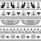 Modelo inconsútil étnico tribal con los símbolos de Egipto Fotografía de archivo libre de regalías