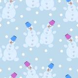 Modelo inconsútil, Años Nuevos alegres de muñecos de nieve Fotografía de archivo