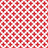 Modelo inconsútil abstracto con las Cruces Rojas en el fondo blanco Diseño moderno del suizo en estilo del bauhaus Fotografía de archivo libre de regalías