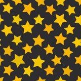 Modelo inconsútil abstracto con las estrellas amarillas brillantes en fondo negro Fondo geométrico para el sitio, blog, tela Vect stock de ilustración