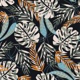 Modelo inconsútil abstracto con las hojas tropicales en un fondo oscuro Dise?o del vector Impresi?n de la selva Materias textiles stock de ilustración